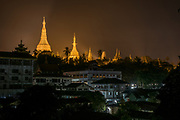Shwedagon Pagoda, East Gate  view at night, Rangoon, Yangon, Myanmar