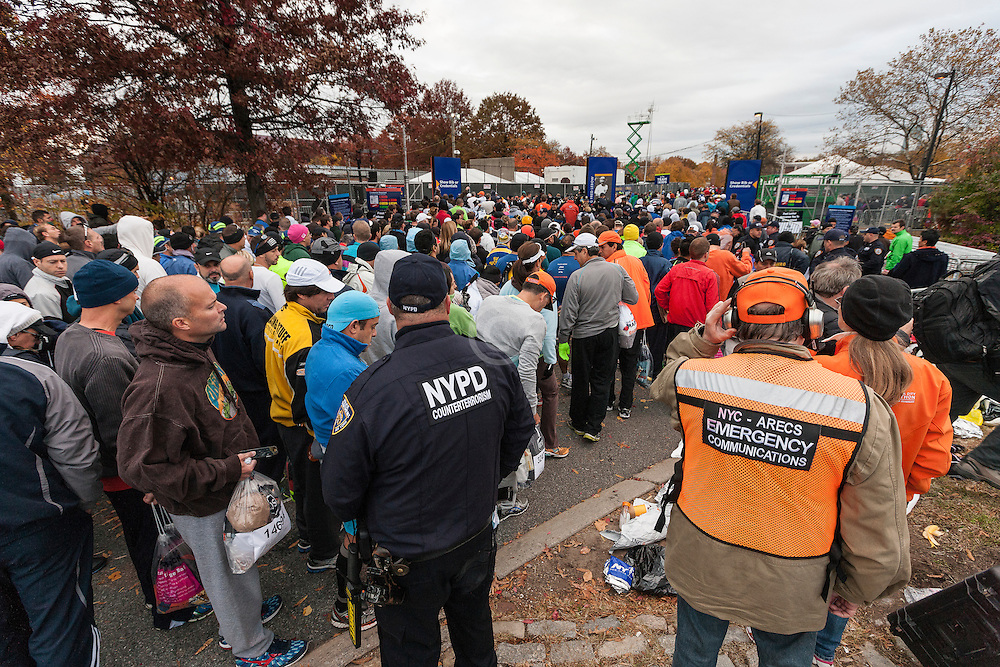ING New York CIty Marathon: start line village, heightened security as runners enter