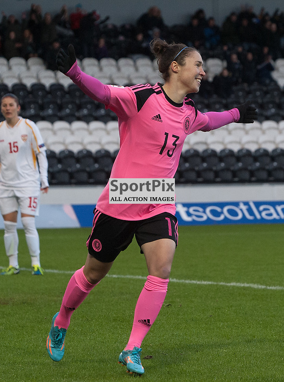 Jane Ross (Scotland &amp; Manchester City) celebrates opening the scoring early in the game<br /> <br /> UEFA Women's European Championship Qualifying - Group 1 <br /> Scotland v FYR Macedonia<br /> St Mirren Park, Paisley<br /> Sunday 29 November 2015<br /> <br /> &copy; Russel Hutcheson | SportPix 2015