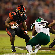 22 September 2018: San Diego State Aztecs running back Juwan Washington (29) rushes the ball into the redone in the first quarter. The San Diego State Aztecs beat the Eastern Michigan Eagles 23-20 in over time at SDCCU Stadium in San Diego, California.