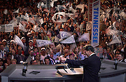 Presidential candidate Al Gore is cheered by delegates prior to his acceptance speech at the Democratic Convention in Los Angles, CA. (2000)