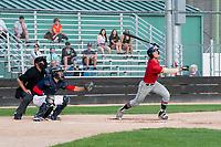 KELOWNA, BC - JULY 16: Brett Gillis #8 of the Wenatchee Applesox hits the ball against the the Kelowna Falcons  at Elks Stadium on July 16, 2019 in Kelowna, Canada. (Photo by Marissa Baecker/Shoot the Breeze)