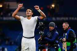 Thiago Silva celebrates after Paris Saint-Germain win the math 1-2 to progress to the last 8 of the competition - Mandatory byline: Rogan Thomson/JMP - 09/03/2016 - FOOTBALL - Stamford Bridge Stadium - London, England - Chelsea v Paris Saint-Germain - UEFA Champions League Round of 16: Second Leg.