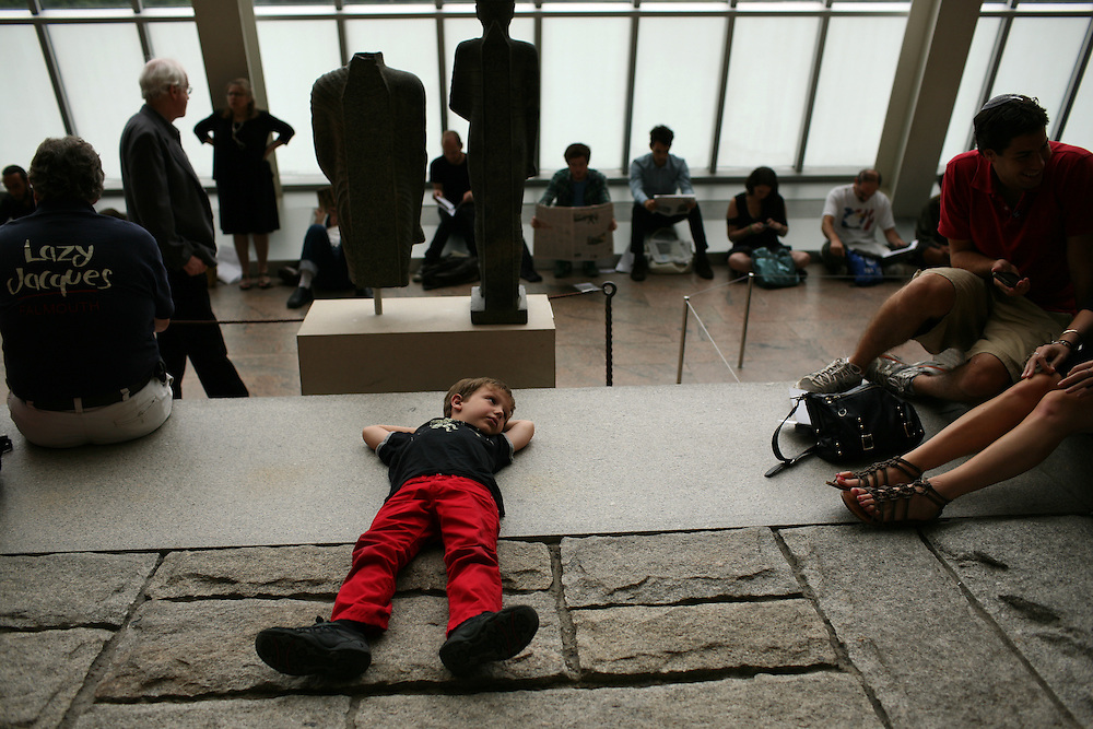 Julian Donas Milstein, 6, before Remembering September 11, Wordless Music Orchestra presented at The Temple of Dendur in The Sackler Wing at The Metropolitan Museum of Art in Manhattan, NY on September 11, 2011...