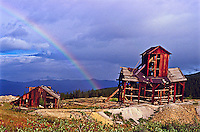 Rainbow over the historic Little Bob Mine.  Once produced 1oz. of gold anf 50-54 ozs of silver per ton of ore.  Near Leadville Colorado.  The old mine is no longer standing.   Over the years the heavy snow has crushed the mine.