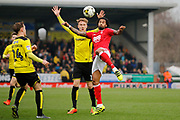 Burton Albion midfielder Lasse Vigen Christensen (24), Burton Albion striker Cauley Woodrow (12) and Nottingham Forest defender Armand Traore (6) during the EFL Sky Bet Championship match between Burton Albion and Nottingham Forest at the Pirelli Stadium, Burton upon Trent, England on 11 March 2017. Photo by Richard Holmes.