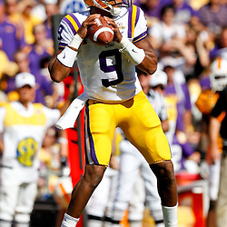 Oct 2, 2010; Baton Rouge, LA, USA; LSU Tigers quarterback Jordan Jefferson (9) looks to pass against the Tennessee Volunteers during the first half at Tiger Stadium.  Mandatory Credit: Derick E. Hingle