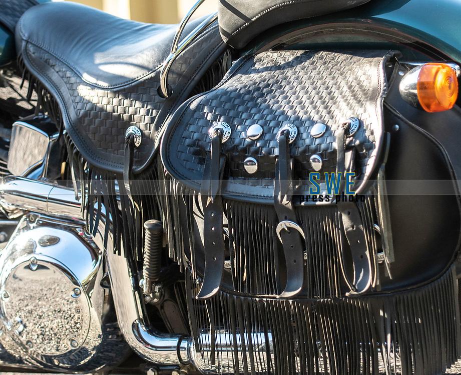 2018-07-04 | Huskvarna, Sweden: A saddle bag during the car meet in Huskvarna Folkets Park ( Photo by: Marcus Vilson | Swe Press Photo )<br /> <br /> Keywords: , Huskvarna, Huskvarna Folkets Park, Camaro, Corvette, Cars, Power, Muscle, Enthusiast, Motor, Engine, People, USA, Sweden, Chevrolet, Saddle bag