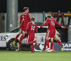 Aberdeen's Shaughnessy celebrates with team mates after scoring their first goal.<br /> Falkirk 0 v 5 Aberdeen, the third round of the Scottish League Cup.<br /> &copy;Michael Schofield.