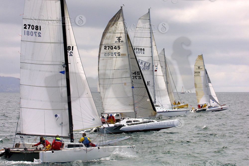 Apr 26, 2002; Newport Beach, California, USA; Tri Hull F31's chase each other west after the start of the 55th annual 125 mile Newport to Ensenada Yacht Race.<br />