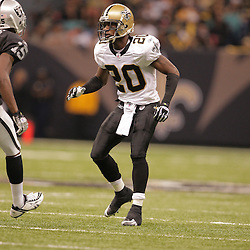 2008 October, 12:New Orleans Saints defensive back Randall Gay (20) in action during a week six regular season game between the Oakland Raiders and the New Orleans Saints at the Louisiana Superdome in New Orleans, LA.