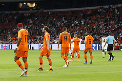 (L-R), Ryan Babel of Holland, Daley Blind of Holland, Kevin Strootman of Holland, Wesley Sneijder of Holland, Georginio Wijnaldum of Holland during the International friendly match match between The Netherlands and Peru at the Johan Cruijff Arena on September 06, 2018 in Amsterdam, The Netherlands