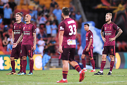 January 8, 2018 - Brisbane, QUEENSLAND, AUSTRALIA - Brisbane Roar players react during the round fifteen Hyundai A-League match between the Brisbane Roar and Sydney FC at Suncorp Stadium on Monday, January 8, 2018 in Brisbane, Australia. (Credit Image: © Albert Perez via ZUMA Wire)