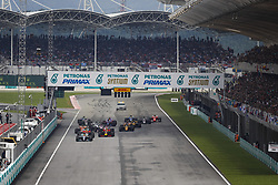 October 1, 2017 - Sepang, Malaysia - Motorsports: FIA Formula One World Championship 2017, Grand Prix of Malaysia, .. Start, #44 Lewis Hamilton (GBR, Mercedes AMG Petronas F1 Team), #33 Max Verstappen (NLD, Red Bull Racing), #3 Daniel Ricciardo (AUS, Red Bull Racing), #77 Valtteri Bottas (FIN, Mercedes AMG Petronas F1 Team) (Credit Image: © Hoch Zwei via ZUMA Wire)