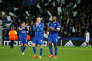 Leicester City Forward Jamie Vardy and Leicester City Defender Wes Morgan celebrate during the Champions League round of 16, game 2 match between Leicester City and Sevilla at the King Power Stadium, Leicester, England on 14 March 2017. Photo by Richard Holmes.