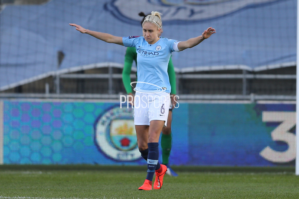 Manchester City Women's defender Steph Houghton (6) during the FA Women's Super League match between Manchester City Women and Brighton and Hove Albion Women at the Sport City Academy Stadium, Manchester, United Kingdom on 27 January 2019.