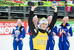 Overall Ski Flying classification winner Peter Prevc of Slovenia celebrates during final trophy ceremony after the Ski Flying Individual Competition at Day 4 of FIS World Cup Ski Jumping Final, on March 22, 2015 in Planica, Slovenia. Photo by Vid Ponikvar / Sportida