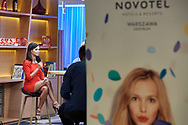 Warsaw, Poland - 2018 June 12: Izabela Koprowiak  attends TV ONET studio in Novotel Football Night at Novotel Hotel on June 12, 2018 in Warsaw, Poland.<br /> <br /> Adam Nurkiewicz declares that he has no rights to the image of people at the photographs of his authorship.<br /> <br /> Picture also available in RAW (NEF) or TIFF format on special request.<br /> <br /> Any editorial, commercial or promotional use requires written permission from the author of image.<br /> <br /> Image can be used in the press when the method of use and the signature does not hurt people on the picture.<br /> <br /> Mandatory credit:<br /> Photo by © Adam Nurkiewicz / Mediasport