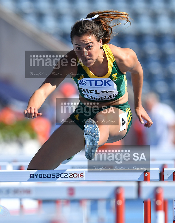 BYDGOSZCZ, POLAND - JULY 22: Taylon Bieldt of South Africa in the heats of the women's 100m hurdles during day 4 of the IAAF World Junior Championships at Zawisza Stadium on July 22, 2016 in Bydgoszcz, Poland. (Photo by Roger Sedres/Gallo Images)
