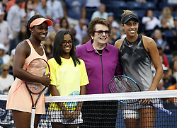 NEW YORK, Sept. 10, 2017  Billie Jean King (2nd R) poses for photos with Sloane Stephens (1st L) and Madison Keys (1st R) of the United States before the women's singles final match at the 2017 US Open in New York, the United States, Sept. 9, 2017. Sloane Stephens won 2-0 to claim the title. (Credit Image: © Qin Lang/Xinhua via ZUMA Wire)