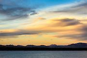 Absaroka mountain range beyond Yellowstone Lake in Yellowstone National Park