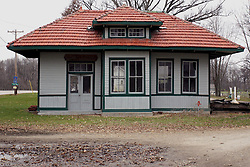 November 2008:  Train depot at Funks Grove, Illinois near the Mother Road, U.S. Route 66. This image was produced in part utilizing High Dynamic Range (HDR) or panoramic stitching or other computer software manipulation processes. It should not be used editorially without being listed as an illustration or with a disclaimer. It may or may not be an accurate representation of the scene as originally photographed and the finished image is the creation of the photographer.