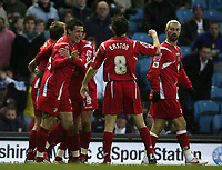 Photo: Paul Thomas/Sportsbeat Images.<br /> Leeds United v Swindon Town. Coca Cola League 1. 17/11/2007.<br /> <br /> Lee Peacock (L) and Swindon celebrate his goal.