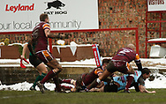 Frederick Bailey (R) of Leigh Centurions dives over to score the opening try against Batley Bulldogs during the Ladbrokes Challenge Cup match at Fox's Biscuits Stadium, Batley<br /> Picture by Stephen Gaunt/Focus Images Ltd +447904 833202