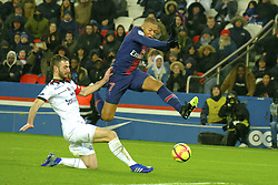 January 19, 2019 - Paris, Ile de France, France - Paris SG Forward KYLIAN MBAPPE score the eighth goal during the French championship League 1 Conforama match Paris SG against EA Guingamp at the Parc des Princes Stadium in Paris - France..Paris SG won 9-0 (Credit Image: © Pierre Stevenin/ZUMA Wire)