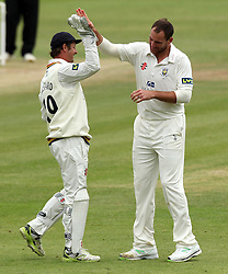 Durham's John Hastings celebrates, with Durham's Phil Mustard, after taking his fifth wicket, that of Middlesex's Steven Finn - Photo mandatory by-line: Robbie Stephenson/JMP - Mobile: 07966 386802 - 04/05/2015 - SPORT - Football - London - Lords  - Middlesex CCC v Durham CCC - County Championship Division One