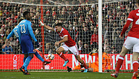 Eric Lichaj wheels away after putting Forest ahead  during The Emirates FA Cup Third Round match between Nottingham Forest and Arsenal at City Ground on January 7, 2018 in Nottingham, England.