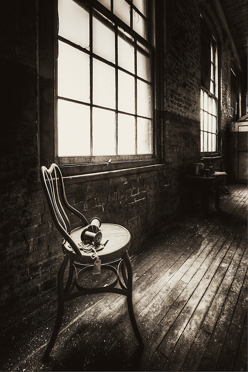 Lonaconing Silk Mill window and chair