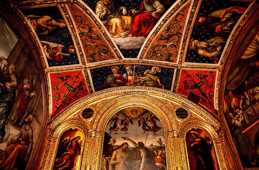 Frescoes on interior of Collegio del Cambio (Money Changers Guild) by Perugino, Palazzo dei Priori, Perugia, Umbria, Italy