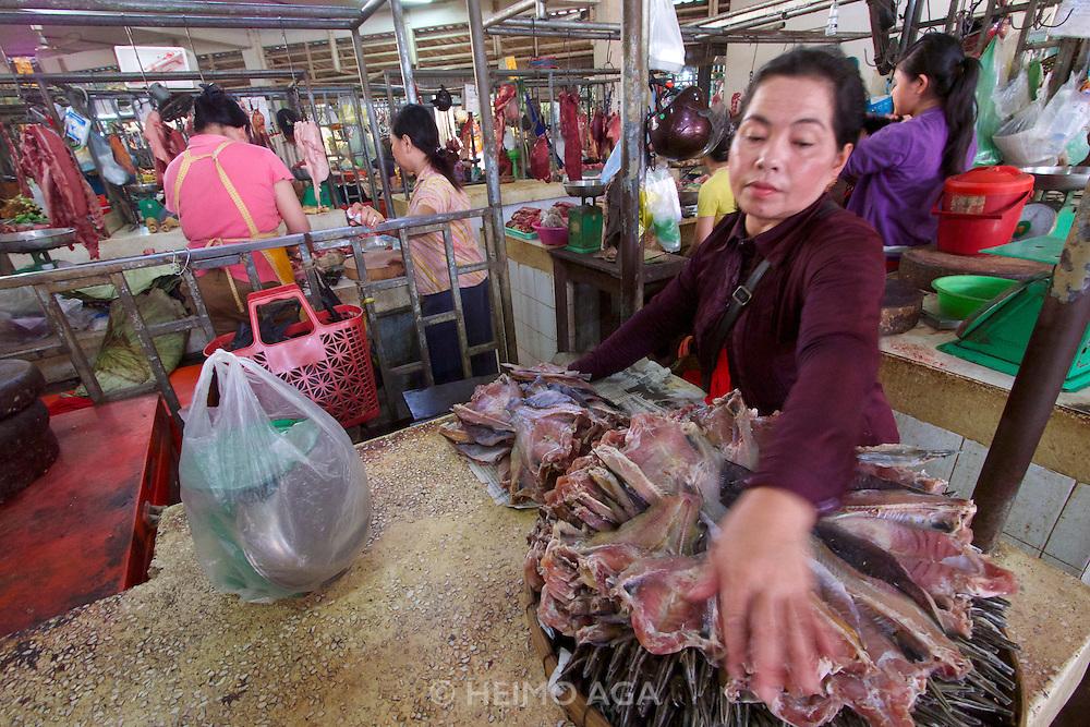 Phnom Penh, Cambodia. Central Market. Smoked fish.