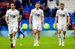 Jack Cork of Burnley, Sam Vokes of Burnley and Charlie Taylor of Burnley after the final whistle of the match  - Mandatory by-line: Ryan Hiscott/JMP - 30/09/2018 -  FOOTBALL - Cardiff City Stadium - Cardiff, Wales -  Cardiff City v Burnley - Premier League