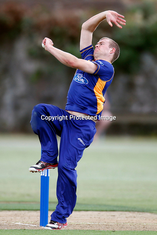 Nick Beard bowls during the Ford Trophy match between the Auckland Aces v Otago Volts. Preliminary Final, Men's domestic 1 day cricket. Colin Maiden Park, New Zealand. Wednesday 8 January 2012. Ella Brockelsby / photosport.co.nz