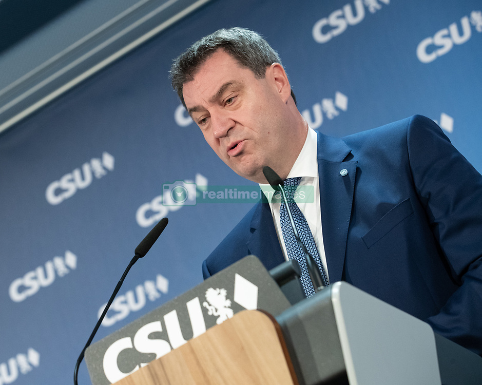 December 17, 2018 - Munich, Bavaria, Germany - Markus Söder (CSU), Prime Minister of Bavaria, will speak at a press conference at the CSU headquarters after the meeting of the CSU executive board. The secretary general of the CSU Markus Blume and the designated CSU chairman Markus Soeder spoke at a press conference after a board meeting of the CSU. (Credit Image: © Alexander Pohl/NurPhoto via ZUMA Press)