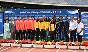 Yokoyama mayor Fumiko Hayashi, JAAF president Hiroshi Yokokawa, IAAF president Sebastian Coe and Gail Devers pose with Japan 4 x 100m, Jamaica women's 4 x 200m and the USA mixed shuttle hurdle relay teams during a news conference prior to the IAAF World Relays, Friday, May 10, 2019,  in Yokohama, Japan. Japan's 4 x 100 relay team is comprised of Yoshihide Kiryu,Yuki Koike, Ryota Yamagata, Shuhei Tada. Jamaica's women's 200m relay team includes Elaine Thompson, Stephenie Ann McPherson, Shericka Jackson and Shelly-Ann Fraser-Pryce. USA mixed shuttle hurdle relay team members are Devon Allen, Christina Clemons (Christina Manning), Freddie Crittenden, Ryan Fontenot and Sharika Nelvis