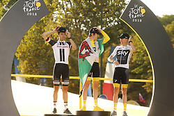 July 29, 2018 - Paris Champs-Elysees, France - PARIS CHAMPS-ELYSEES, FRANCE - JULY 29 : DUMOULIN Tom (NED) of Team Sunweb, THOMAS Geraint (GBR) of Team SKY, FROOME Chris (GBR) of Team SKY pictured on the podium during during stage 21 of the 105th edition of the 2018 Tour de France cycling race, a stage of 116 kms between Houilles and Paris Champs-Elysees on July 29, 2018 in Paris Champs-Elysees, France, 29/07/18  (Credit Image: © Panoramic via ZUMA Press)