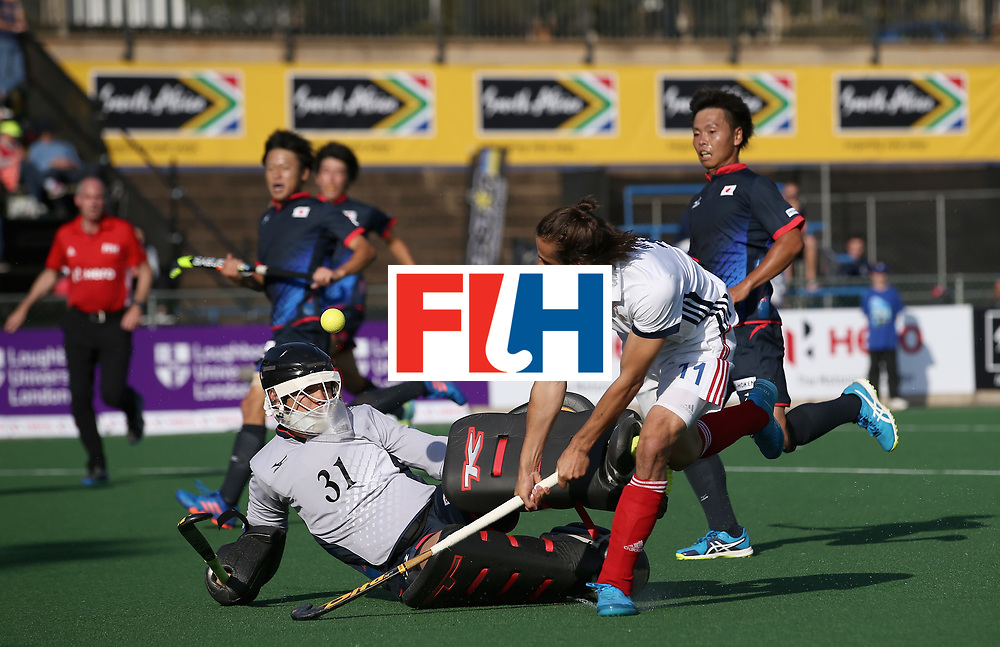 JOHANNESBURG, SOUTH AFRICA - JULY 13: Charles Masson of France has a shot at goal saved my Suguru Shimmoto of Japan during day 3 of the FIH Hockey World League Semi Finals Pool A match between Japan and France at Wits University on July 13, 2017 in Johannesburg, South Africa. (Photo by Jan Kruger/Getty Images for FIH)