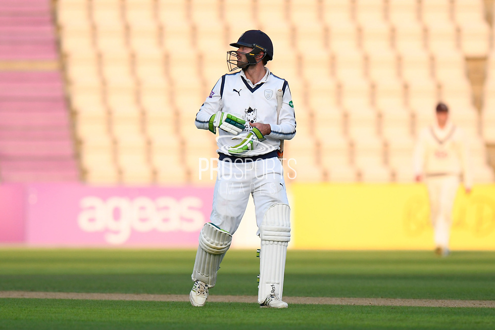 Batsman Ian Holland of Hampshire at the end of play on day 2 of the Specsavers County Champ Div 1 match between Hampshire County Cricket Club and Surrey County Cricket Club at the Ageas Bowl, Southampton, United Kingdom on 6 September 2017. Photo by Graham Hunt.