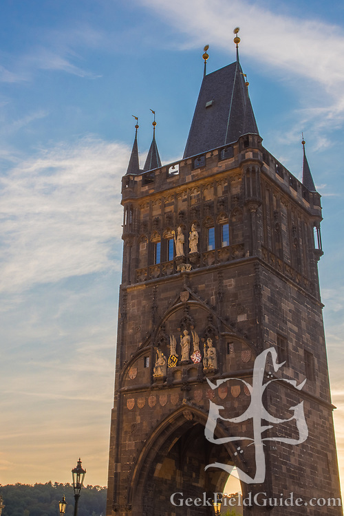 The eastern tower of the Charles Bridge, in Prague, Czech Republic.