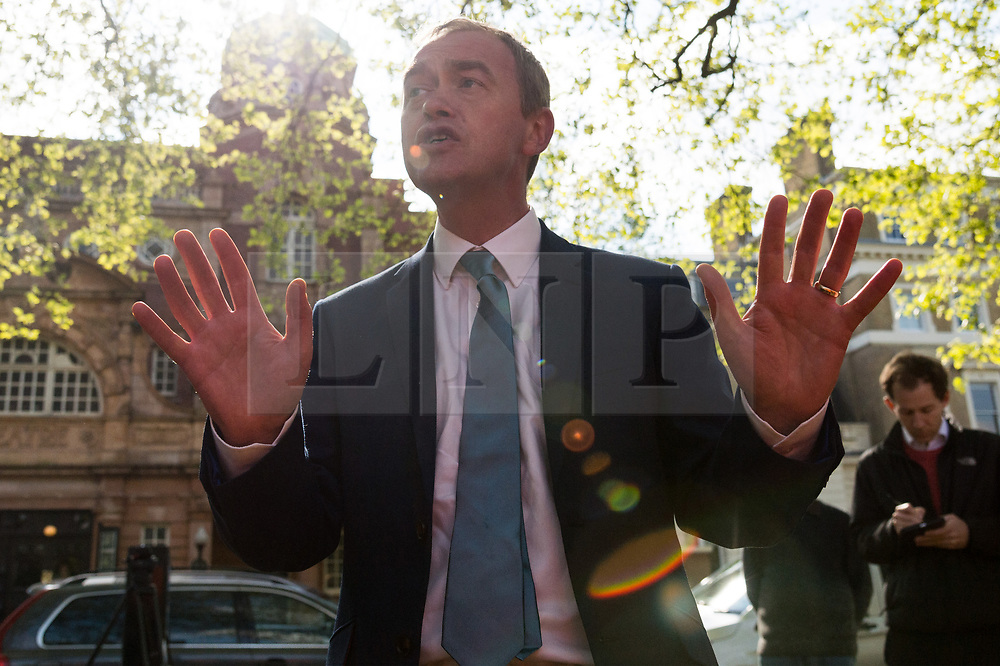 © Licensed to London News Pictures. 19/04/2017. London, UK. Liberal Democrat leader Tim Farrow speak to supporters at a rally in Richmond in response the announcement of the General Election on June 8th 2017. Photo credit: Ray Tang/LNP