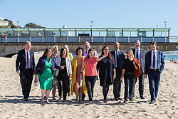 © Licensed to London News Pictures . 17/09/2019. Bournemouth, UK. Lib Dem leader Jo Swinson and members of the party's shadow cabinet and MPs walk along the beach in Bournemouth during the final day of the Liberal Democrat Party Conference at the Bournemouth International Centre . Photo credit: Joel Goodman/LNP