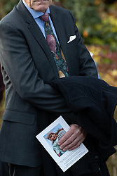 © Licensed to London News Pictures . 30/10/2018. Accrington , UK . A man clutching a copy of the order of service , outside the crematorium , after the service . The funeral of Gemma Nuttall at Accrington Crematorium . Gemma died of cancer despite initially seeing off the disease after radical immunotherapy treatment in Germany , paid for with the fundraising support of actress Kate Winslet , who read of Gemma's plight on a crowdfunding website shortly after she lost her own mother to cancer . Permission to photograph given by Gemma's mother , Helen Sproates . Photo credit : Joel Goodman/LNP