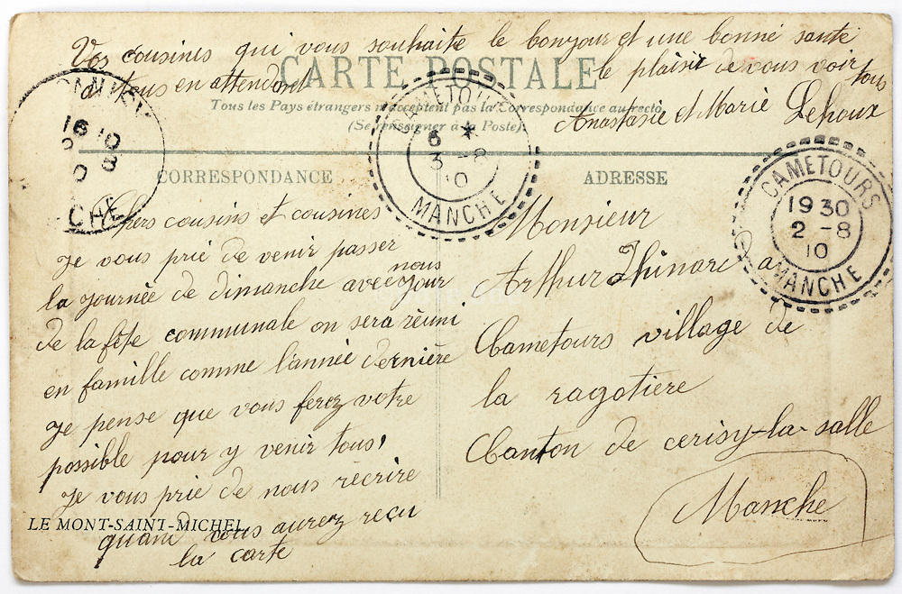 French hand written back of postcard from 1930