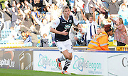 Steve Morrison begins his celebrations during the Sky Bet League 1 match between Millwall and Rochdale at The Den, London, England on 26 September 2015. Photo by Michael Hulf.
