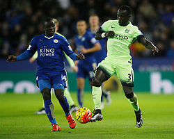 Ngolo Kante of Leicester City (L) and Bacary Sagna of Manchester City in action  - Mandatory byline: Jack Phillips/JMP - 07966386802 - 29/12/2015 - SPORT - FOOTBALL - Leicester - King Power Stadium - Leicester City v Manchester City - Barclays Premier League