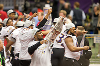 3 February 2013: The Baltimore Ravens celebrates after defeating the San Francisco 49ers in Superbowl XLVII at the Mercedes-Benz Superdome in New Orleans, LA.