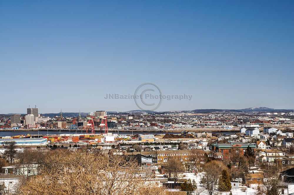 Overview of the city of St-John, NB Canada in the springtime.